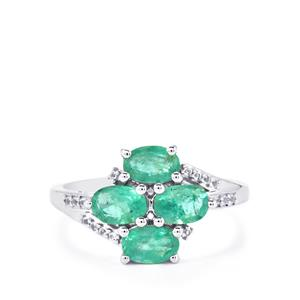 Zambian Emerald & White Topaz Sterling Silver Ring ATGW 1.73cts