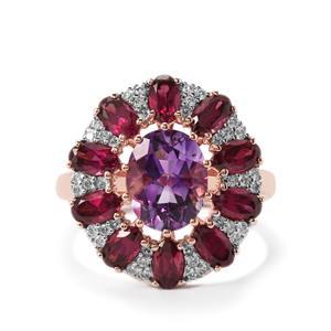 Moroccan Amethyst, Rajasthan Garnet & White Zircon Rose Gold Vermeil Ring ATGW 5.79cts