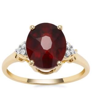 Gooseberry Grossular Garnet Ring with White Zircon in 9K Gold 4.21cts