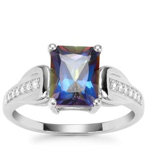 Mystic Blue Topaz Ring with White Zircon in Sterling Silver 2.91cts
