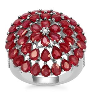 Malagasy Ruby Ring with White Zircon in Sterling Silver 9.48cts (F)