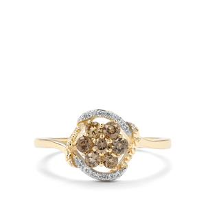 Miova Loko Garnet & White Zircon 9K Gold Ring ATGW 0.64cts