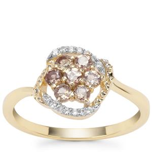Miova Loko Garnet Ring with White Zircon in 9K Gold 0.64ct