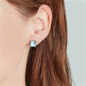 Swiss Blue Topaz Earrings in Sterling Silver 4.12cts