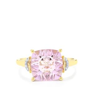 Lehrer QuasarCut Rose De France Amethyst Ring with Diamond in 10K Gold 3.03cts