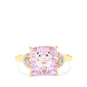 Lehrer QuasarCut Rose De France Amethyst & Diamond 10K Gold Ring ATGW 3.03cts