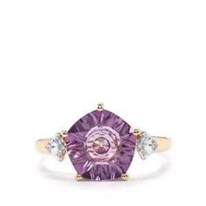 Lehrer QuasarCut Amethyst Ring with Diamond in 10K Gold 2.94cts