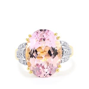 Mawi Kunzite Ring with Diamond in 18k Gold 11.94cts