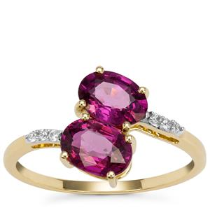 Comeria Garnet Ring with White Zircon in 9K Gold 1.86cts