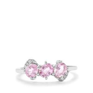 Sakaraha Pink Sapphire & Diamond 9K White Gold Ring ATGW 1.40cts