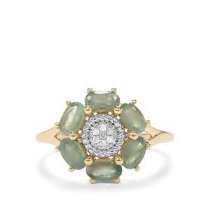 Alexandrite & Diamond 9K Gold Ring ATGW 1.43cts