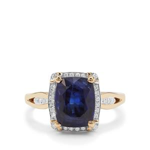 Nilamani Ring with Diamond in 18K Gold 4.08cts.