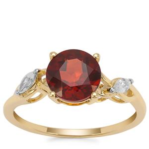 Mandarin Citrine Ring with White Zircon in 9K Gold 1.91cts