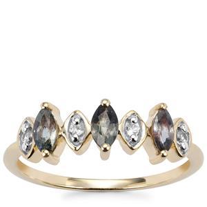 Tunduru Color Change Sapphire Ring with White Zircon in 10k Gold 0.66ct