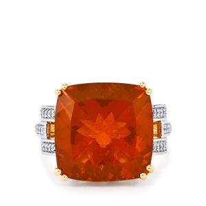 AAA Orange American Fire Opal Ring with Diamond in 18k Gold 8.59cts