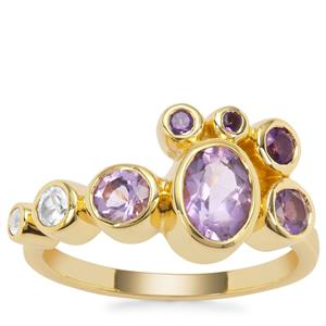 Zambian Amethyst Ring with Rose de France Amethyst and White Zircon in Gold Plated Sterling Silver 1.65cts