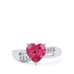 2.29ct Mystic Pink & White Topaz Sterling Silver Ring