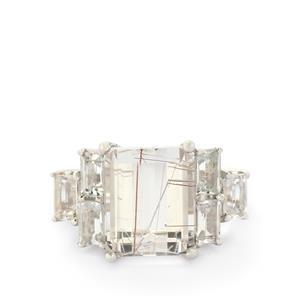 Bahia Rutilite & White Topaz Sterling Silver Ring ATGW 9.13cts
