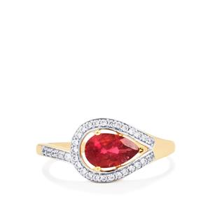 Cruzeiro Rubellite Ring with White Zircon in 10K Gold 1.09cts
