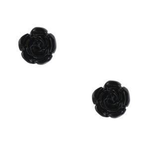 Black Obsidian Flower Earrings in Sterling Silver 15cts