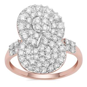Argyle Diamond Ring in 9K Rose Gold 1cts