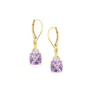 Lehrer KaleidosCut Lavender Topaz, Blue Sapphire & Diamond 9K Gold Earrings ATGW 4.59cts