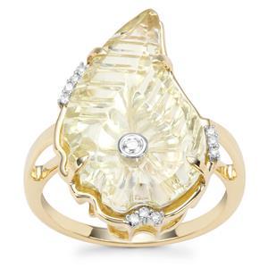 Lehrer Flame Cut Lemon Quartz Ring with Diamond in 9K Gold 8.03cts