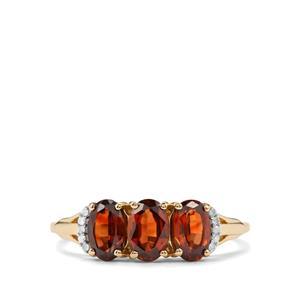 Capricorn Zircon & Diamond 9K Gold Ring ATGW 2.06cts