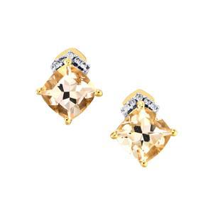 Alto Ligonha Morganite Earrings with White Zircon in 9K Gold 1.71cts