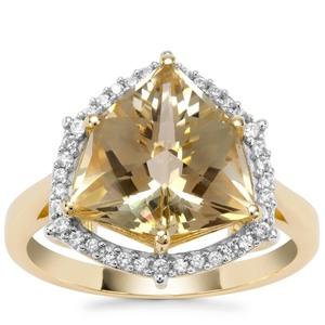 Alpine Cut Serenite Ring with White Zircon in 9K Gold 4.70cts