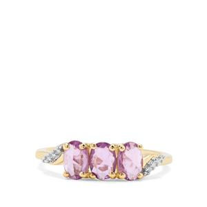 Rose Cut Purple Sapphire & Diamond 9K Gold Ring ATGW 1.19cts