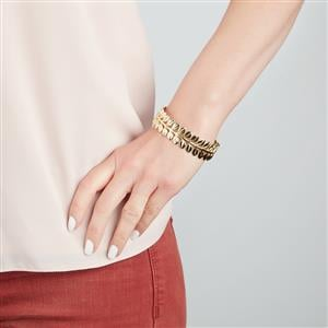 Textured Oval Bangle in Gold Plated Sterling Silver