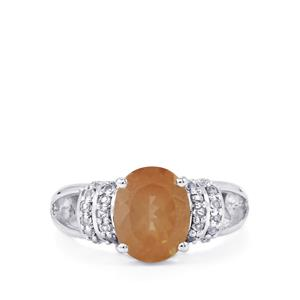 Guyang Sunstone & White Topaz Sterling Silver Ring ATGW 2.66cts