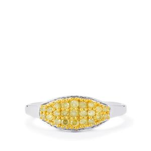 Natural Yellow Diamond Ring in Sterling Silver 0.37ct