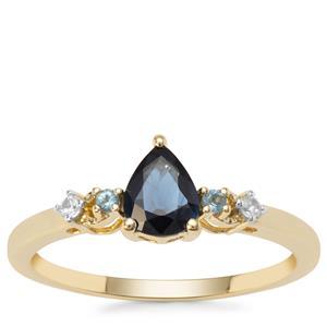 Australian Blue Sapphire Ring with London Blue Topaz & White Zircon in 9K Gold 0.65ct