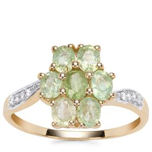 Paraiba Tourmaline Ring with Diamond in 9K Gold 1.30cts