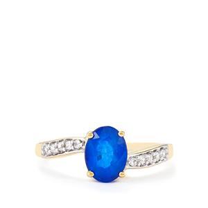 Santorinite™ Blue Spinel & White Zircon 10K Gold Ring ATGW 1.41cts