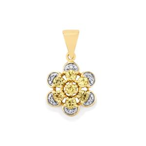 Ceylon Zircon Pendant with Diamond in 10k Gold 1.23cts