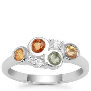 Songea Multi Sapphire Ring with White Zircon in Sterling Silver 1.10cts