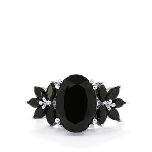 Black Spinel Ring in Sterling Silver 10.34cts