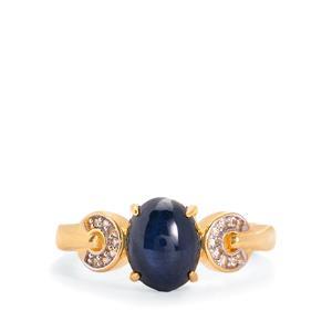 Star Blue Sapphire & White Topaz Midas Ring ATGW 3.13cts