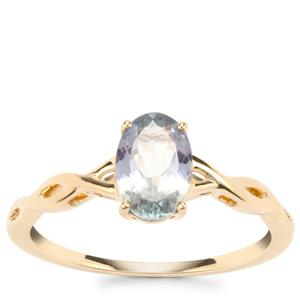 Bi Colour Tanzanite Ring in 9K Gold 0.98ct
