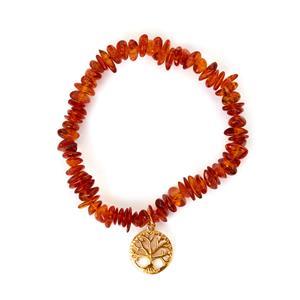 Baltic Cognac Amber Gold Tone Sterling Silver Elastic Tree of Life Bracelet
