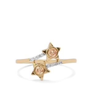 Natural Coloured Diamond Ring with White Diamond in 9K Gold 0.27ct