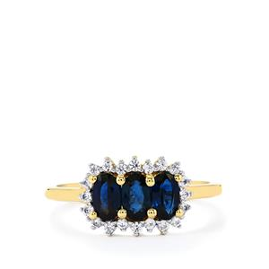 Nigerian Blue Sapphire & White Zircon 9K Gold Ring ATGW 1.45cts