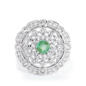 Zambian Emerald & White Topaz Sterling Silver Ring ATGW 1.55cts