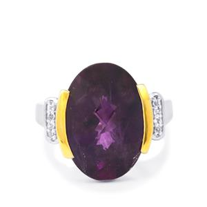 Zambian Amethyst Ring with White Topaz in Two Tone Gold Plated Sterling Silver 14.12cts