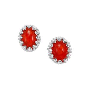 0.97ct Ethiopian Red Opal Sterling Silver Earrings
