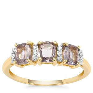 Burmese Pink Spinel Ring with White Zircon in 9K Gold 1.51cts