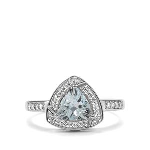 Pedra Azul Aquamarine & White Zircon Sterling Silver Ring ATGW 1.09cts